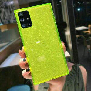 For Samsung S21 S20 Note 20 A71 A51 A52 Glitter Fluorescent TPU Soft Case Cover