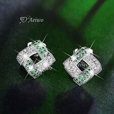 18K WHITE GOLD FILLED MADE WITH SWAROVSKI CRYSTAL EARRINGS GREEN STUD