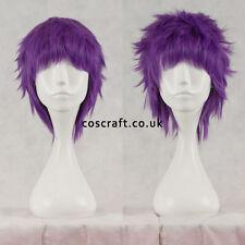 Short layered fluffy spikeable cosplay wig, greyish purple UK seller, Jack style
