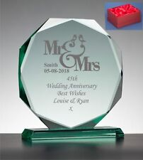 Engraved Silver Wedding 25th  Anniversary Presentation Jade Glass Gift, Boxed