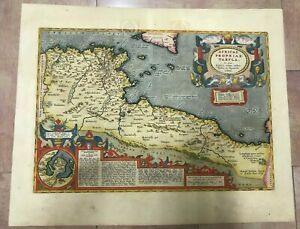 NORTH AFRICA 1603 ABRAHAM ORTELIUS UNUSUAL LARGE ANTIQUE ENGRAVED MAP
