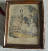 Vintage 1862 La Mode Illustree Paris Fashion Print Framed