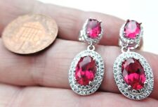 Superb Sterling Silver Cubic Zirconia Dangly Drop Stud Ear Rings