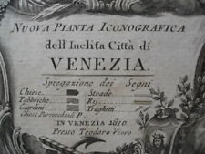 Map, Venice T. Viero, c1810 Nuova Pianta Iconografica Venezia Antique Original *