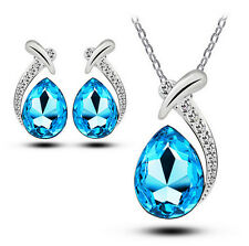 Women Chic Crystal Pendant Chain Necklace Stud Silver Plated Earring Jewelry Set Sea Blue