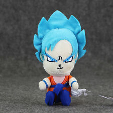 2 New Dragonball Super Saiyan Blue Goku Plushy Toy Keychains