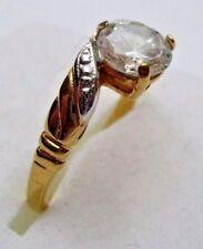 bague rétro bijou vintage plaqué or 14 k solitaire cristal diamant griffé T.54 p
