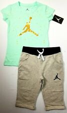 Nike Air Jordan Girls 2 PC Set Shirt Tee & Capri Shorts Outfit Size Med.