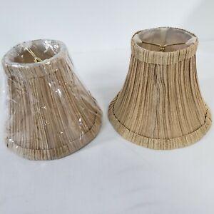 "2 Clip On 5"" Small Bell Candelabra lamp Shades Chandelier Mushroom Tan Fabric"