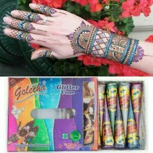 Golecha Henna Mehandi Temporary Tattoo Body Art - Multicolor Glitter - 12 Cones