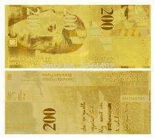 SWITZERLAND FRANCS 200 SCHWEIZER FRANKEN GOLD REPLICA