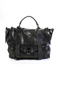 Proenza Schouler Womens PS1 Leather Flip Lock Messenger Bag Handbag Black