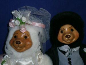Vintage Robert Raikes Bride & Groom Plush Wood Face Bears by Applause w/COA 7½in