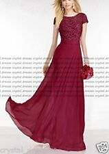 New Long Lace ShortSleeve Evening Formal Party Ball Gown Prom Bridesmaid Dresses