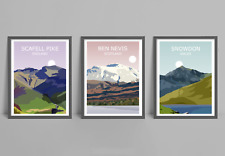Three Peaks Set Of 3 Art Prints - Ben Nevis, Scafell Pike, Snowdon ,Landscape