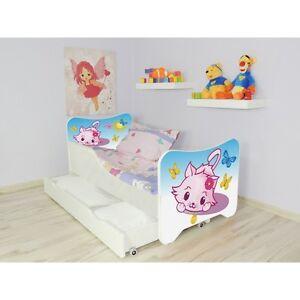 Children Bed Little Kitty for Girls Kids + mattress 140x70cm + drawer + Pillow