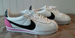 Nike Classic Cortez Premium Womens Sneaker White Pink Black Size 8.5