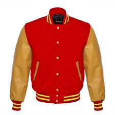 Red Varsity Letterman   Wool Body And Yellow gold Real Leather Sleeves Jacket