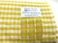 Swans Island Textured 100% Virgin Wool Throw, 50x70 Yellow Checkered