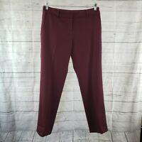 Tory Burch Womens Pants Sz 8 Burgundy Wool Blend Lined