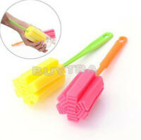 2X Sponge Cleaner Long Handle Brush Glass Tin Bottle Cup Kitchen Wash Cleaning D