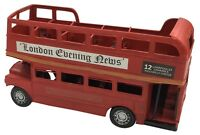 Vintage Classic London Red Double Decker Bus Tin Metal 31cm Length Collectible