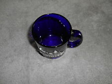 Vintage - Cobalt Blue Glass Coffee Cup With Metal Baltimore Tag