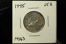 1945 Canada silver twenty five 25 cents - MS63