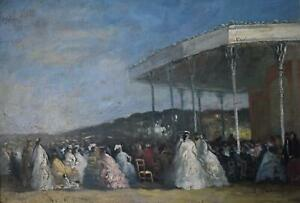A Grande Edwardian Soiree with Orchestra Oil Painting J LeSaux c1930s France