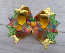 "4.5"" Handmade Yellow Green Pineapple Stacked Hair Bow"