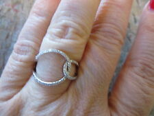 14K White Gold Pave Diamond Ring NEW Fun Unique Design Open Ovals Loop Modern