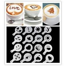 16PCS Coffee Cake Decorating Tool DIY Cake Stencils Spray Flower Mold Pad Set