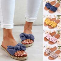 Women's Summer Beach Espadrilles Slipper Sandals Bow Knot Casual Flat Shoes Size