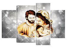 Quadro moderno Sacra Famiglia Gesù Madonna 90X130 tela canvas argento stelle