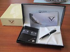 Visconti premium black calf leather wallet NN5 and mini ballpoint.