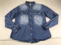 Denim Co Blue Chambray Distressed Pearl Snap Long Sleeve Shirt Top 10 Medium M