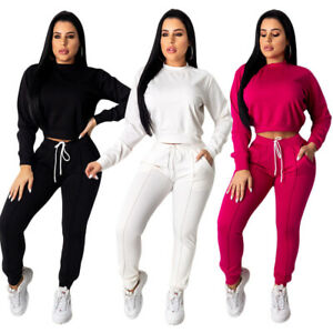 NEW Lovely Women's O Neck Solid Color Long Sleeves Drawstring Outfits2pcs Casual