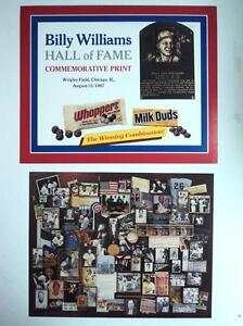 1987 Baseball Hall of Fame Billy Williams Print Wrigley - FLASH SALE