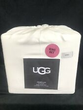 UGG TIERNAN flannel KING SHEET SET snow white - NEW