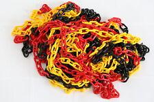 Absperrkette Kunststoff, Ø 8 mm, Glied 24 x 49, Schwarz/Rot/Gelb, PE, 1 Meter