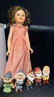 "Snow White & Dwarves Disney Doll 22"" Miracle Vinyl Deluxe Reading Vintage 1958"