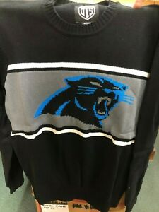 MED Carolina Panthers Mens Sweater Long Sleeve JET BLACK Brand NWT McCaffrey