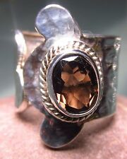 Sterling silver cut smoky quartz gemstone wrap ring UK K½/US 5.5-5.75