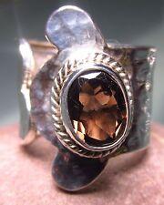 Sterling silver cut smoky quartz gemstone wrap ring UK K½/US 5.5-5.75