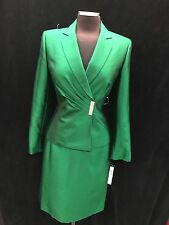 TAHARI BY ARTHUR LEVINE SKIRT SUIT/GREEN/SIZE 10/RETAIL$280/LINED/SILK LOOK/