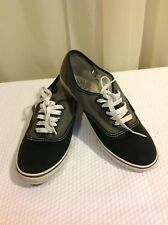 VANS Authentic 2 Tone Men Size 7 Shoes Black Gray Canvas Sneakers Off The Wall