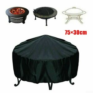 Round Fire Pit Cover Waterproof UV Protector Grill BBQ Cover for Outdoor Patio