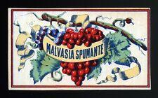 "1950 ca "" MALVASIA SPUMANTE "" Etichetta pubblicitaria VINTAGE 10x6 cm"