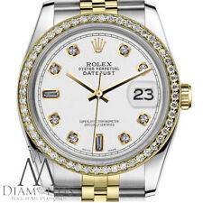Clásico Rolex 26mm Datejust 2 Colores Color Blanco 8+2 Diamante Detalle Esfera