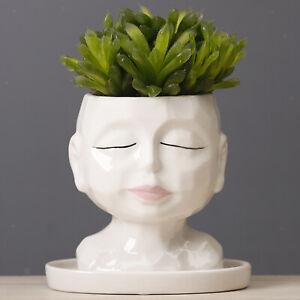 Ceramic Face Head Flower Planter Garden Plant Pot Art Flowerpot Home Decor